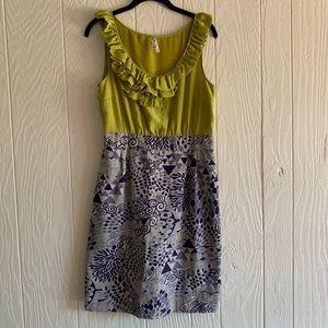 Anthropologie Ruffled Printed Dress